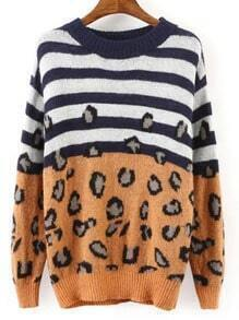 Blue Yellow Round Neck Striped Leopard Sweater