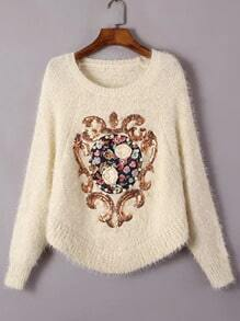 Apricot Batwing Sleeve Sequined Bead Appliques Sweater