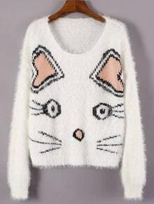 White Round Neck Cat Print Crop Sweater