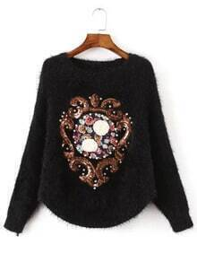 Black Batwing Sleeve Sequined Bead Appliques Sweater