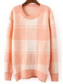 Orange Round Neck Plaid Loose Sweater