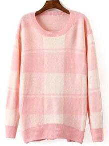 Pink Round Neck Plaid Loose Sweater