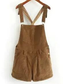 Brown Strap Pockets Corduroy Jumpsuit