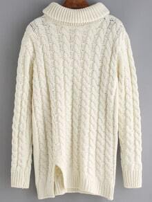 White High Neck Cable Knit Split Sweater