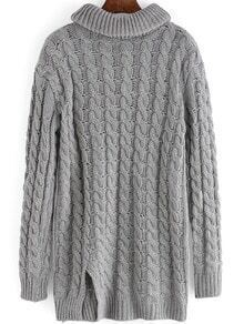Grey High Neck Cable Knit Split Sweater