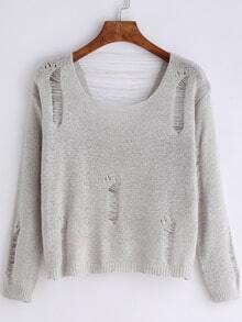 Grey Scoop Neck Ripped Crop Knitwear