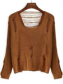 Khaki Scoop Neck Ripped Crop Knitwear