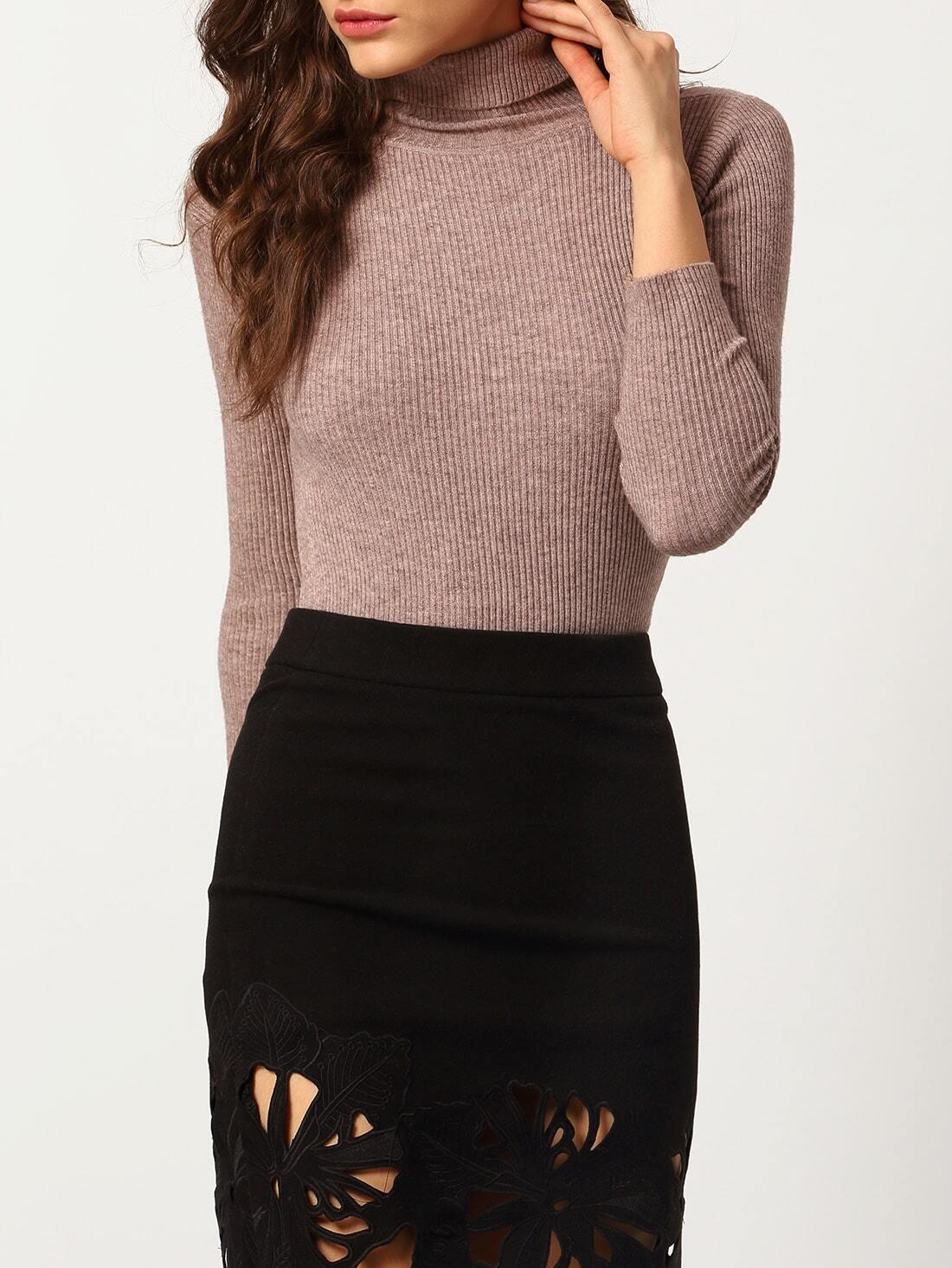 leichter skinny pullover mit hohem kragen rosa german shein. Black Bedroom Furniture Sets. Home Design Ideas