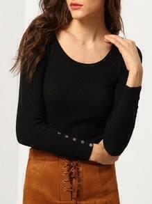 Black Round Neck Skinny Crop Knitwear