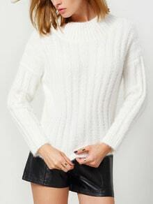 White Mock Neck Striped Crop Sweater