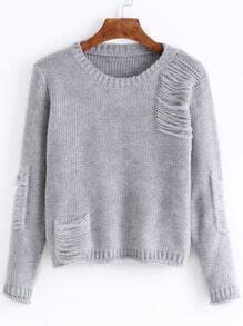 Grey Round Neck Pocket Ripped Crop Sweater