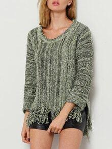 Green Round Neck Dip Hem Tassel Sweater