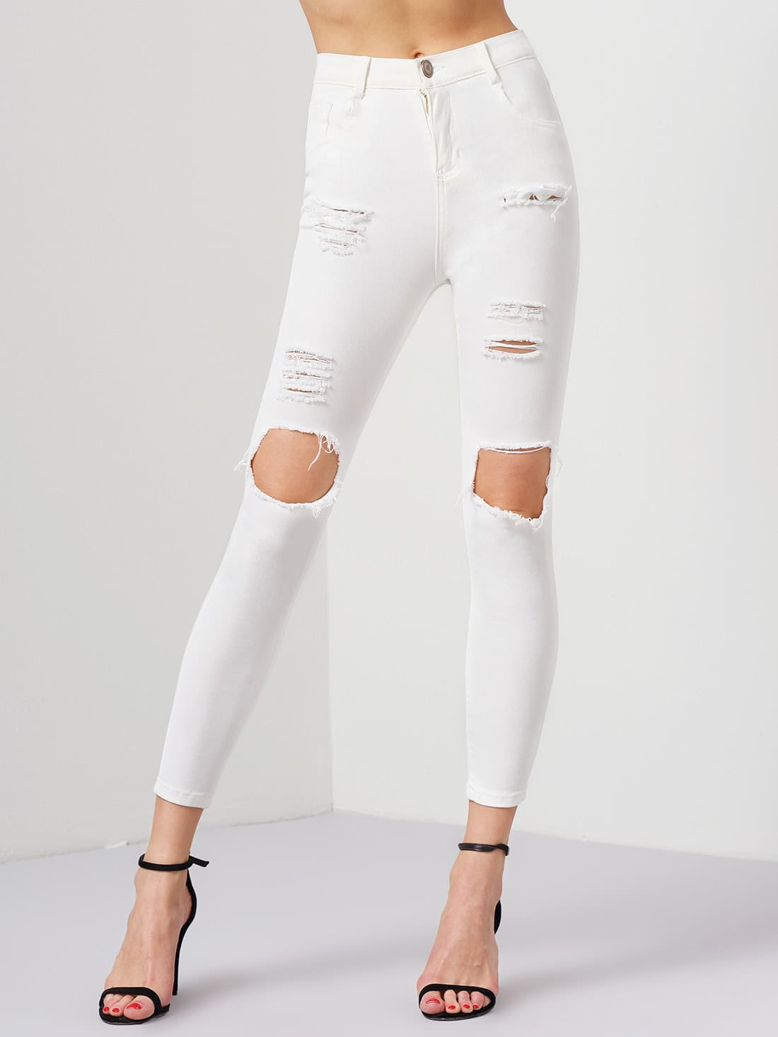 White Ripped Slim Denim Pant