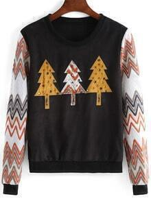 Black Christmas Tree Pattern Bead Crop Sweatshirt