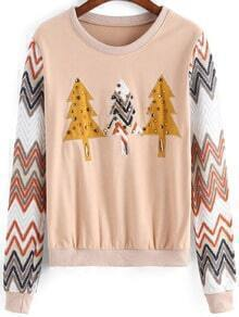 Apricot Christmas Tree Pattern Bead Crop Sweatshirt