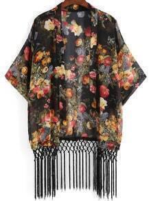 Colour Floral Loose Tassel Kimono