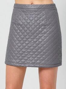 Grey Slim Quilting PU Skirt
