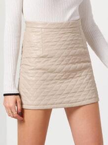 Apricot Slim Diamond Patterned PU Skirt