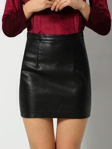 Black Zipper Bodycon PU Skirt
