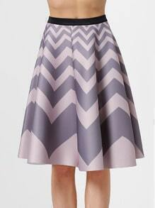 Pink Grey Wave Pattern Flare Skirt