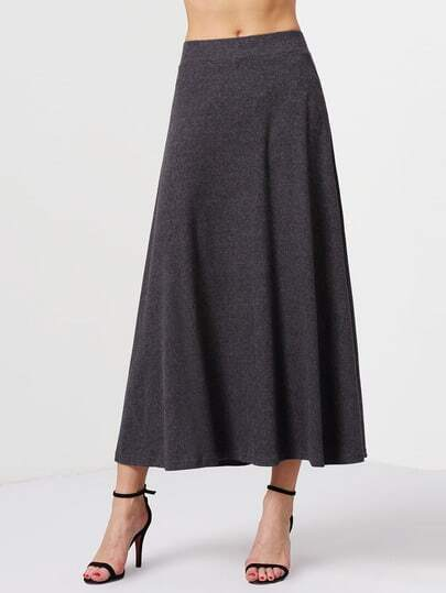 Grey High Waist Long Skirt