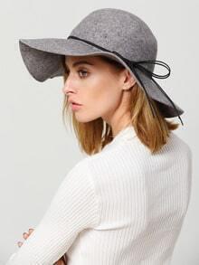 Grey Lace Up Fashion Hat