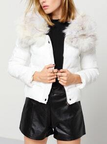 White Removable Faux Fur Collar Crop Down Coat