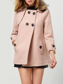 Pink Removable Faux Fur Collar Buttons Woolen Coat