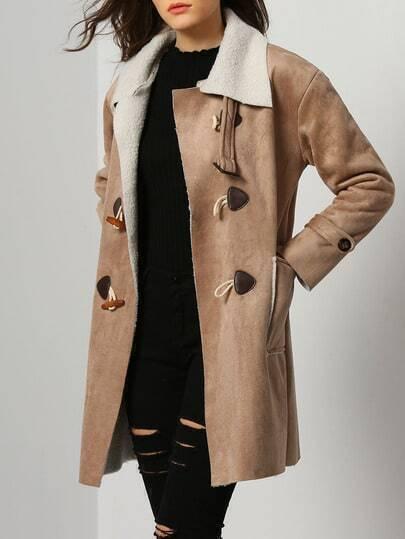 Apricot Lapel Long Sleeve Pockets Coat