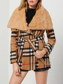 Khaki Lapel Plaid Tie-Waist Woolen Coat