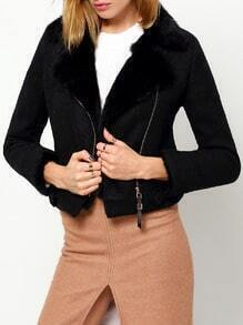 Black Faux Fur Collar Zipper Crop Coat