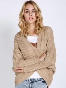 Khaki Batwing Sleeve Chunky Sweater Coat