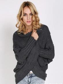 Grey Batwing Sleeve Chunky Sweater Coat