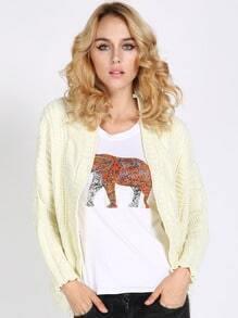 Beige Batwing Sleeve Chunky Sweater Coat