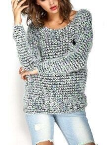 Green Round Neck Pocket Mohair Sweater