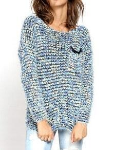 Blue Round Neck Pocket Mohair Sweater