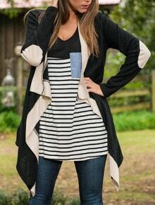 Black Long Sleeve Elbow Patch Sweater Coat