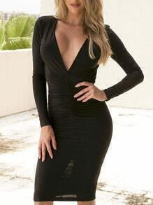 Black Deep V Neck Backless Slim Dress