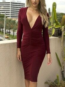 Burgundy Deep V Neck Backless Slim Dress