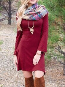 Red Round Neck Bell Sleeve Slim Dress