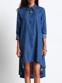 Blue Lapel High Low Denim Shirt Dress