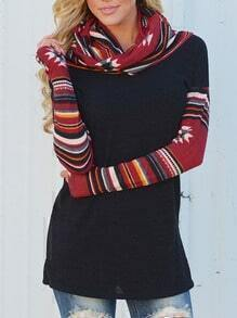 Colour Cowl Neck Striped Slim Top