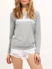 Grey Round Neck Letters Print Loose T-Shirt