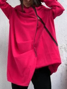 Red Hooded Zipper Pockets Loose Coat