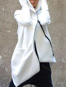 White Hooded Zipper Pockets Loose Coat