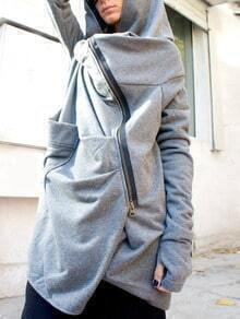 Grey Hooded Zipper Pockets Loose Coat