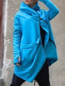 Blue Hooded Zipper Pockets Loose Coat