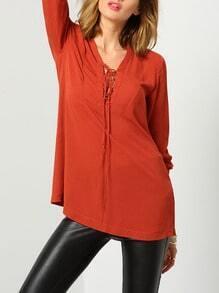 Orange Long Sleeve V Neck Lace Up Blouse