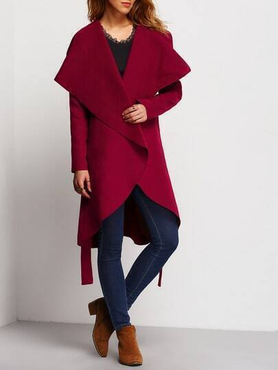Burgundy Long Sleeve Lapel Ruffle Coat pictures