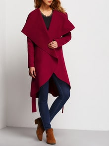 Burgundy Long Sleeve Lapel Ruffle Coat